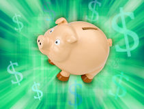 Savings Piggy Bank Money. A piggy bank on a green background with money symbols Royalty Free Stock Image