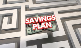 Savings Plan Maze Budget Grow Money Wealth. 3d Illustration Royalty Free Stock Images