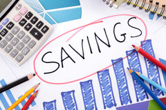 Savings growth plan, calculator, chart Stock Photography