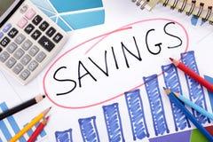 Savings growth plan, calculator, chart Stock Photography