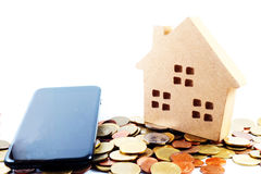 Mortgage, House, money on mobile Stock Photo