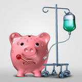Savings Problem. Financial concept and a budget on life support or weak finances icon as a sick piggy bank attached to medical equipment as a finance and Stock Photos