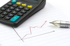 Savings progress. Calculating progress of savings on diagram Royalty Free Stock Image