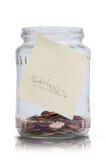 Savings przylepiający etykietkę słoje zdjęcia stock