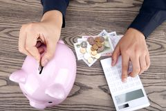 Savings. Put the coin in pingk piggy bank Stock Photo