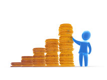 Savings rise. Rising golden coin stacks chart and satisfied investor or businessman Stock Photography
