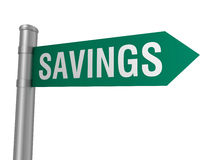 Savings road sign Royalty Free Stock Photography