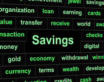 Savings Saved Indicates Financial Investment And Money. Savings Saved Showing Money Finances And Cash royalty free illustration