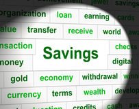 Savings Saved Means Monetary Cash And Wealthy Stock Images