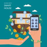 Savings with smart house vector flat illustration stock illustration