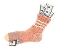 Savings in the sock Royalty Free Stock Image