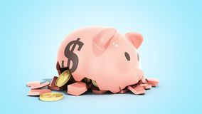 Savings spending comcept pink ceramic piggy bank completely broken up into several large pieces money inside 3d render on blue. Savings spending comcept pink vector illustration