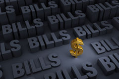 Savings Surrounded By Looming Bills Stock Image