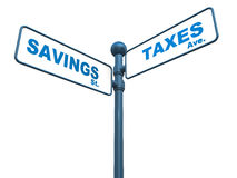 Savings and taxes. Savings street and taxes avenue on a signboard against white background, good for isolated use, concept of either save with investments and Stock Image