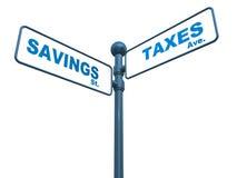 Savings and taxes Stock Image