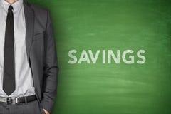 Savings text on blackboard Stock Photo