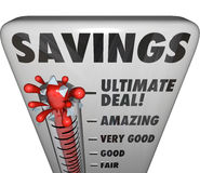 Savings Thermometer Store Sale Discount Bargain Deal Level Stock Images