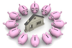 Savings to buy a house Royalty Free Stock Photos