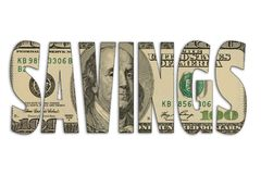 Savings the us dollar on white isolated background.  Stock Photography