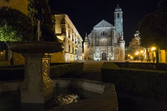 Savior Chapel El Salvador at night, Ubeda, Jaen, Spain.  stock photography