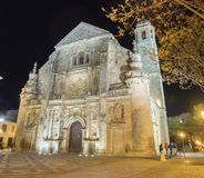 Savior Chapel El Salvador at night, Ubeda, Jaen, Spain.  royalty free stock photography