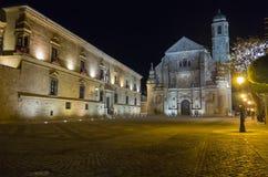Savior Chapel El Salvador at night, Ubeda, Jaen, Spain.  royalty free stock photos