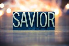 Savior Concept Metal Letterpress Type Royalty Free Stock Photos