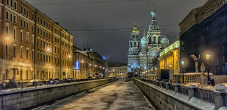 Savior on Spilled Blood and Griboedova canal night view Stock Photography