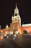 The Savior Tower by night, Moscow. Royalty Free Stock Photos