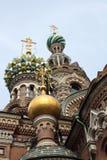 The Saviour of the Blood. The Saviour of the Blood church st. Petersburg, with deep blue sky stock photos