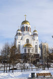 Saviour on Blood Cathedral in winter Royalty Free Stock Photos