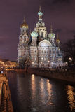 The Saviour on the blood at Night in Saint-Petersburg Royalty Free Stock Images