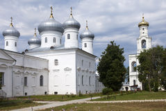 Saviour Cathedral and bell tower, Russian orthodox Yuriev Monastery in Great Novgorod (Veliky Novgorod.) Russia Royalty Free Stock Photo