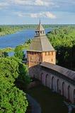 Saviour Tower of  Novgorod Kremlin from a height, Veliky Novgorod Royalty Free Stock Images