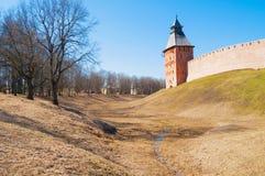 Saviour tower of Veliky Novgorod Kremlin, Russia - spring day view Royalty Free Stock Images