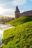 Saviour tower of Veliky Novgorod Kremlin, Russia - summer view Stock Images