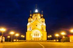Saviour Transfiguration Cathedral with night illumination, Khaba Royalty Free Stock Photography