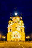 Saviour Transfiguration Cathedral with night illumination, Khaba Stock Photo