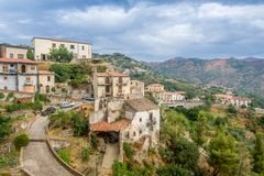 Savoca old town. City of Godfather film. Sicily, Italy Royalty Free Stock Images