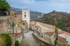 Savoca old town. City of Godfather film. Sicily, Italy Royalty Free Stock Photos
