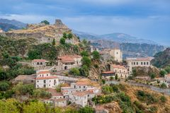 Savoca old town. On the mountains landscape. Sicily, Italy Royalty Free Stock Photos