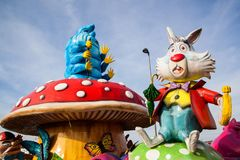 Free Savogna, Italy - March 3 2019: A Caterpillar Absolem And White Rabbit Sitting On Mushroom Giant Sculpture From Alice In Wonderland Royalty Free Stock Photo - 150790875