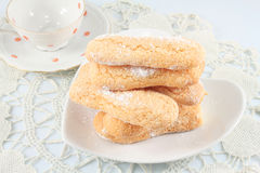 Savoiardi Cookies, Ladyfingers Royalty Free Stock Photos