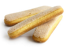 Savoiardi italian sponge biscuits  on white. Stock Photos