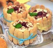 Savoiardi tort nakrywający z wiśnią zdjęcia stock
