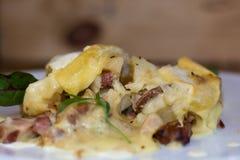 Savoie tartiflette from side stock photo