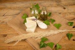 Savon et crème hydratante naturels Photos stock