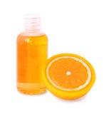 Savon et gel décoratifs oranges de douche Images libres de droits