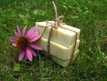 Savon fait main naturel castillan bandé avec de la ficelle sur le Ba d'herbe Image libre de droits