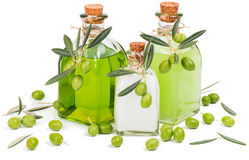 Savon liquide, crème et shampooing d'olive verte Images libres de droits